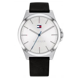 Tommy Hilfiger 1791716 Men's Watch Barclay Leather Strap black / silver