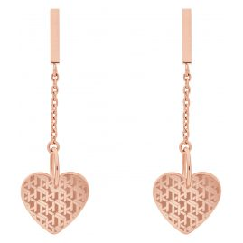 Tommy Hilfiger 2780304 Ladies' Drop Earrings Heart Rose Gold Plated Steel