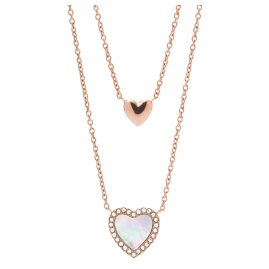 Fossil JF03459791 Ladies' Necklace Hearts To You Rose Gold Plated Steel