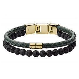 Fossil JF03255710 Men's Bracelet Duo Green Leather and Lava Stone