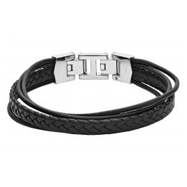 Fossil JF03389040 Men's Leather Bracelet Black Multi-Strand