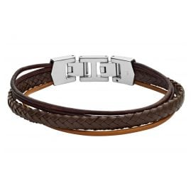 Fossil JF03390040 Men's Leather Bracelet Brown Multi-Strand