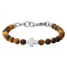 Fossil JF03416040 Men's Bracelet Tiger's-Eye Stainless Steel Cross