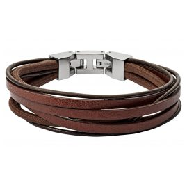 Fossil JF03184040 Men's Leather Bracelet Brown Multi-Strand