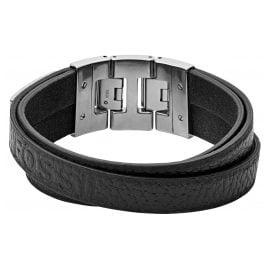 Fossil JF03189040 Herren-Armband Leder Schwarz