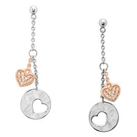 Fossil JFS00493998 Ladies' Drop Earrings Hearts Silver