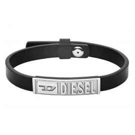 Diesel DX1226040 Men's Bracelet Stainless Steel Leather Black