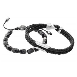 Diesel DX1254040 Set of 2 Men's Bracelets Black