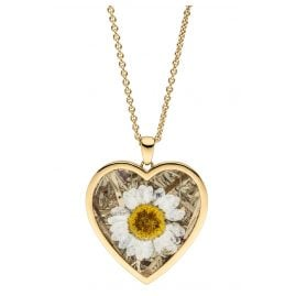 Viventy 783242 Ladies' Necklace Heart with Marguerite / Cornflower Gold Plated