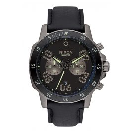 Nixon A940 2305 Ranger Chrono Leather Gunmetal Herrenuhr
