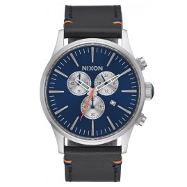 Nixon A405 1258 Sentry Chrono Leather Blue Herrenuhr