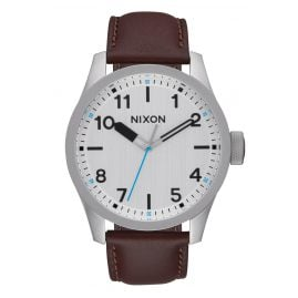 Nixon A975 1113 Safari Leather Silver/Brown Mens Watch