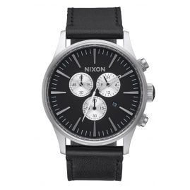 Nixon A405 000 Mens Watch Sentry Chrono Leather Black