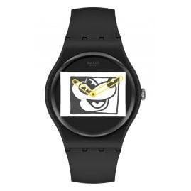 Swatch SUOZ337 Watch Keith Haring Mickey Blanc Sur Noir