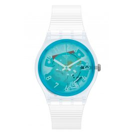 Swatch GW215 Ladies' Watch Retro-Bianco Turquoise/White