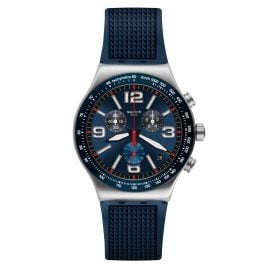 Swatch YVS454 Men's Watch Chronograph Blue Grid