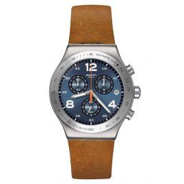 Swatch YVS470 Irony Herrenuhr Chronograph Cognac Wrist braun / blau