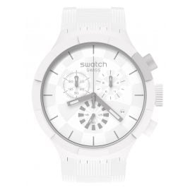 Swatch SB02W400 Big Bold Watch Chronograph Chequered White