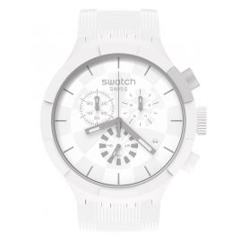 Swatch SB02W400 Big Bold Uhr Chronograph Chequered White