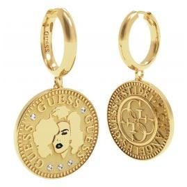 Guess UBE79156 Ladies Drop Earrings Gold Plated Coin