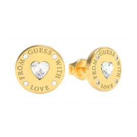 Guess JUBE70037JW Damen-Ohrringe Coin Ohrstecker Vergoldet