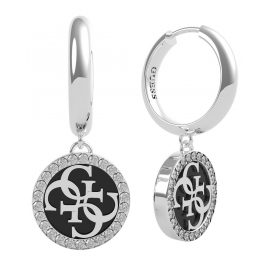 Guess JUBE70247JW Women's Drop Earrings Black Enamel Logo