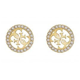 Guess JUBE78005JW Ladies' Stud Earrings Pave Logo Gold Tone
