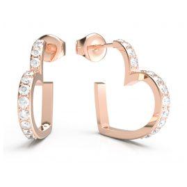 Guess JUBE01081JW-RG Damen-Ohrringe Creolen Heart Rosé
