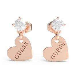 Guess JUBE01083JW-RG Damen-Ohrringe Herz-Anhänger Roségoldfarben