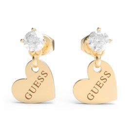 Guess JUBE01083JW-YG Women's Drop Earrings Heart-Pendant Gold Tone