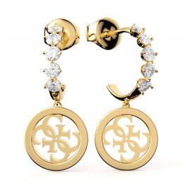 Guess JUBE01112JW-YG Damen-Ohrringe Creolen Mini Hoop & Charm Goldfarben