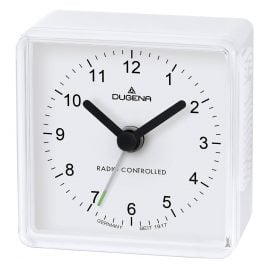 Dugena 4460795 Radio-Controlled Travel Alarm Clock White