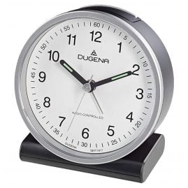 Dugena 4460943 Radio-Controlled Alarm Clock Silver / White