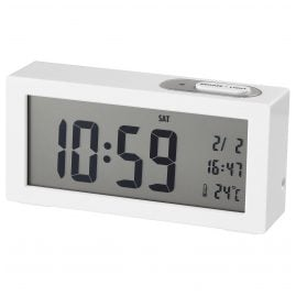 Dugena 4460964 Alarm Clock with Digital Display White