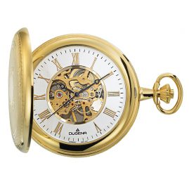 Dugena 4460307 Hand-Winding Skeleton Pocket Watch