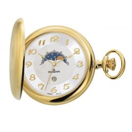 Dugena 4460306 Savonette Pocket Watch with Moon Phase incl Chain