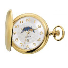 Dugena 4460306 Savonette Taschenuhr mit Mondphase inkl. Kette