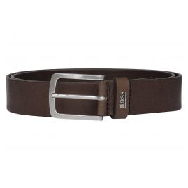 Boss 50424636 Leather Men's Belt Jor-Logo-Sz35 Dark Brown