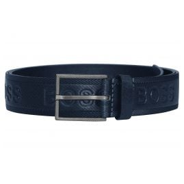 Boss 50430111-401 Men's Leather Belt Tril-Logo Dark Blue
