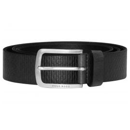 Boss 50435219-001 Men's Belt with Embossed Logo Leather Black