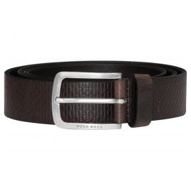 Boss 50435219-202 Men's Belt with Embossed Logo Leather Brown