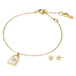 Michael Kors MKC1194AH710 Damen-Schmuckset Armband und Ohrringe Blume