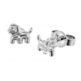 trendor 49181 Silver Girls Stud Earrings Dog