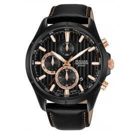 Pulsar PM3165X1 Men's Watch Chronograph Rally with Black Leather Strap