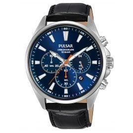 Pulsar PT3A43X1 Herrenuhr Chronograph Lederband Schwarz