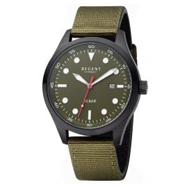 Regent BA-639 Men's Wristwatch Black/Olive WR 10 Bar Ø 42 mm