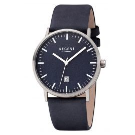 Regent F-1233 Men's Watch Titanium Blue Leather Strap Ø 39 mm