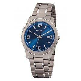 Regent F-840 Herren-Armbanduhr Titan/Blau
