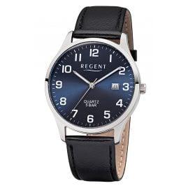Regent F-1240 Herren-Armbanduhr mit Lederband Schwarz/Blau