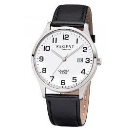 Regent F-1241 Men's Watch with Leather Strap Black/White